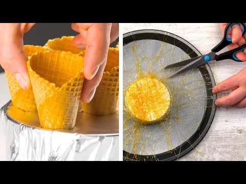 Wrap Waffle Cones In Tin Foil & Fill Them With Batter   6 Spectacular Caramel Desserts