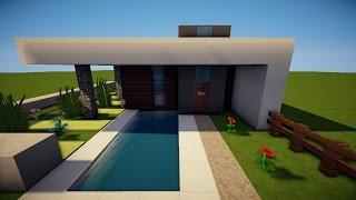 Minecraft Modernes Haus Mit Wintergarten Braunweiß Bauen Tutorial - Minecraft haus bauen german
