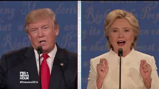 Clinton and Trump talk about Clinton Foundation donation questions