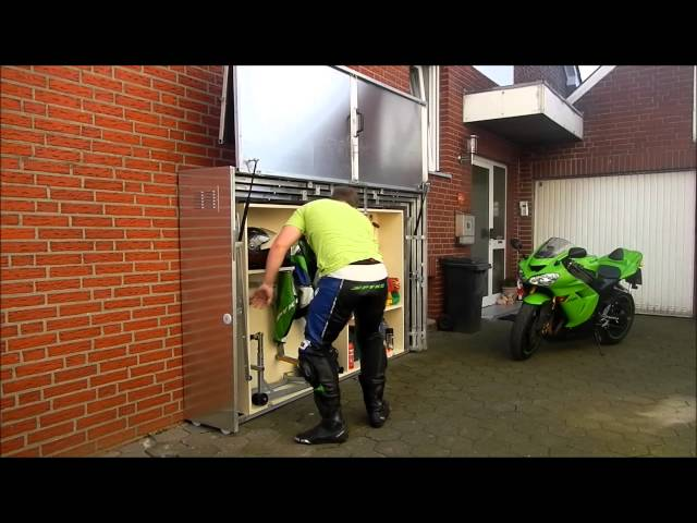Retractable Garage Shelter : Retractable motorcycle shed the awesomer