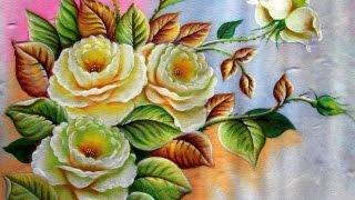 Como Pintar Rosas Brancas – Pintura em tecido!