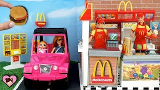 Barbie Doll Mc Donalds Drive Thru With Miniature Hamburger Happy Meal Maker Toy