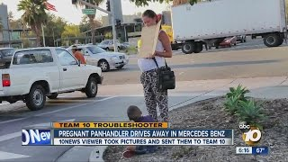 Caught on camera: Pregnant beggar with boy drives off in a Mercedes-Benz