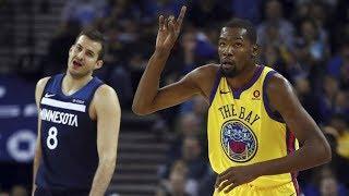 Kevin Durant 10th Career Triple Double! Timberwolves vs Warriors 2017-18 Season