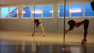 Beginner level pole dance routine by Aryanna