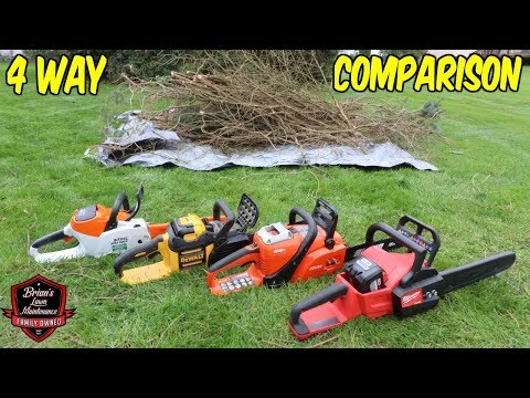 4 Way BATTERY Chainsaw Comparison ► Which Has The Better Cut And Torque?