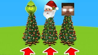 Minecraft PE : DO NOT CHOOSE THE WRONG CHRISTMAS TREE! (Grinch, Santa & Herobrine)