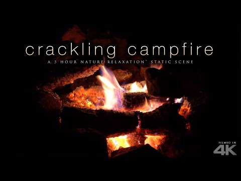 4K Crackling Campfire Scene - 3 HRs + Fire Sounds by Nature