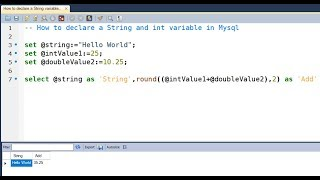 How to Declare a String,Int variable in MySQL Query