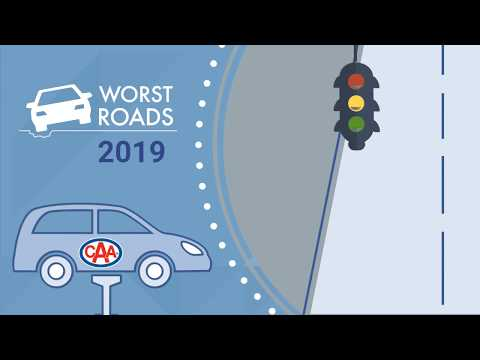 Illustration containing a stop light, a vehicle on a jack and the Worst Roads 2019 logo