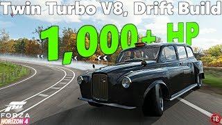 Forza Horizon 4: Austin FX4 Taxi WIDEBODY, 1,000+ HP Drift Build!