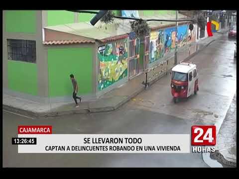 Cámara capta a delincuentes robando vivienda en Cajamarca