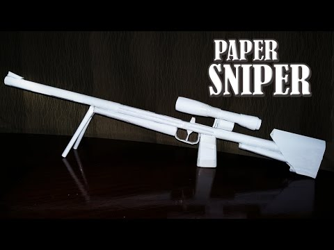 How to make a paper sniper rifle that shoots - rubber band paper gun