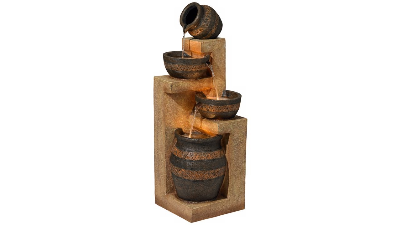"""Stoneware Bowl and Jar Indoor-Outdoor 46"""" High Fountain"""