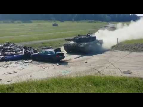 Leopard 2A4 Main Battle Tank vs. Car