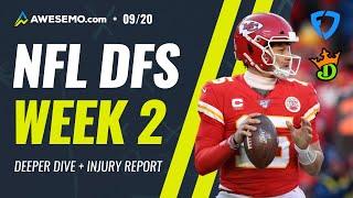 NFL WEEK 2 DEEPER DIVE, INJURY REPORT & LIVE BEFORE LOCK - SUNDAY 9/20- DraftKings, FanDuel DFS