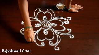 Friday Kolam Without Dots * Simple Rangoli Without Dots * Easy Muggulu Without Dots for Beginners