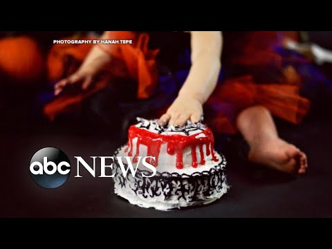 Baby celebrates 1st birthday with 'creepy' Halloween cake smash