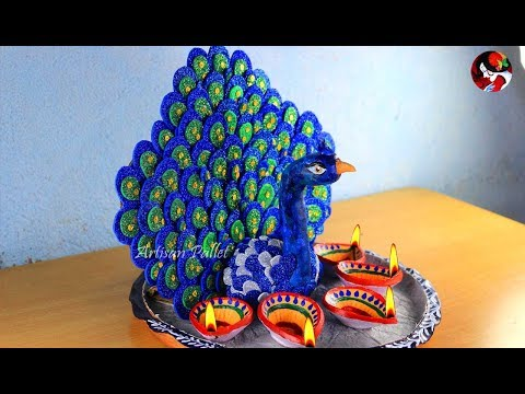 Peacock Thali Decor with Clay | Aarti Thali for Diwali Home Decor | Handmade Diwali Gift Idea