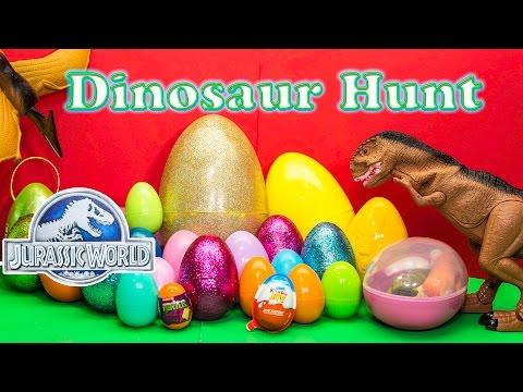DINOSAURS Jurassic World Funny Dinosaur Huge Surprise Eggs TheEngineeringFamily Surpise Toys Video