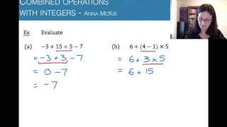 Combined operations with integers
