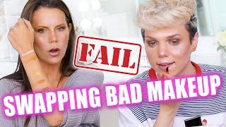 SWAPPING BAGS OF MAKEUP WE HATE ft. Thomas Halbert