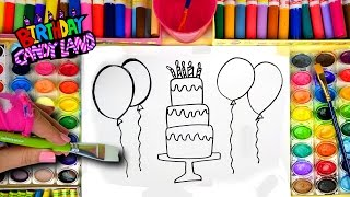 Learn Colors For Kids And Hand Color Watercolor Birthday Cake Balloons Coloring Pages
