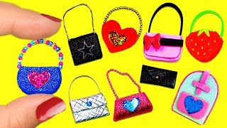 10 DIY Barbie Doll Miniature Purse, Handbag, Bag -10 Different Styles - 10 Easy DIY Doll Crafts #2