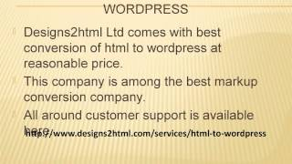 Convert HTML to WordPress Service By Designs2HTML