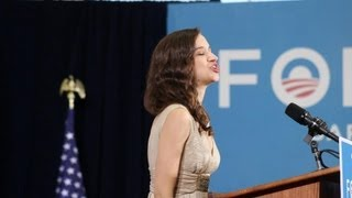 At Joe Biden's Appearance, Chloe Dolandis Performs The National Anthem