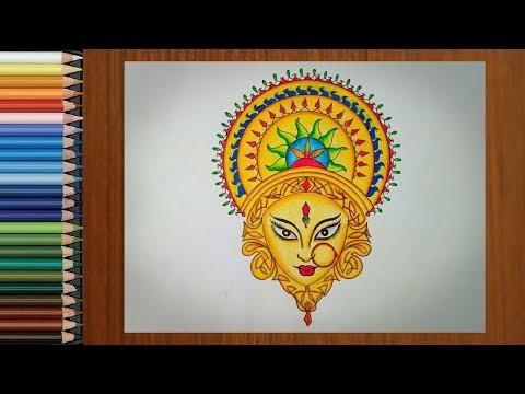 Drawing Durga Maa Durga Puja Festival Drawing Easy Navratri