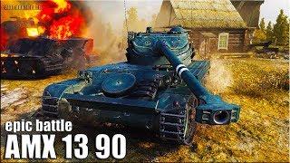 ЭПИЧЕСКАЯ ЗАЩИТА БАЗЫ на лт AMX 13 90 🌟 СВЕТ И ДАМАГ ЛБЗ 15 🌟 World of Tanks лучший бой на лт