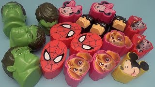 Learning Greater Than Less Than and Equal To with Surprise Eggs! Batman Spider-Man Mickey Mouse!