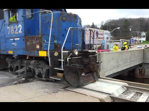 This video shows the process of lifting, leveling and stabilizing a sinking concrete slab under train tracks with the revolutionary PolyLEVEL system. 