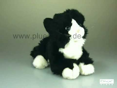 Plüschtier Katze schwarzweiß mit Stimme 1608
