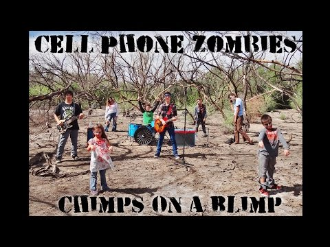 cell phone zombies by chimps on a blimp