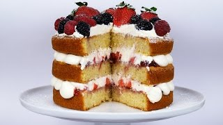 vanilla sponge cake with buttercream filling and jam