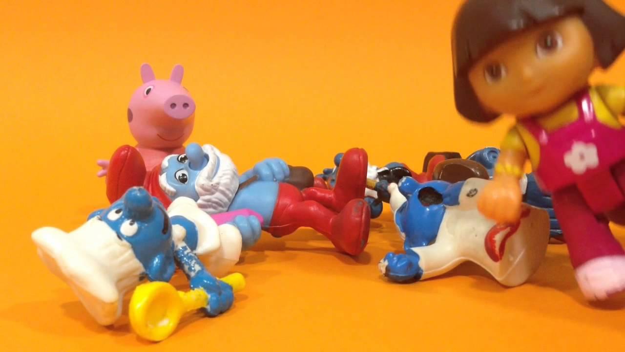 Peppa Pig, Dora la exploradora y los pitufos.