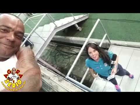 Repórter Favela e Fabiola Andrade da Sportv na Arena Fonte Nova