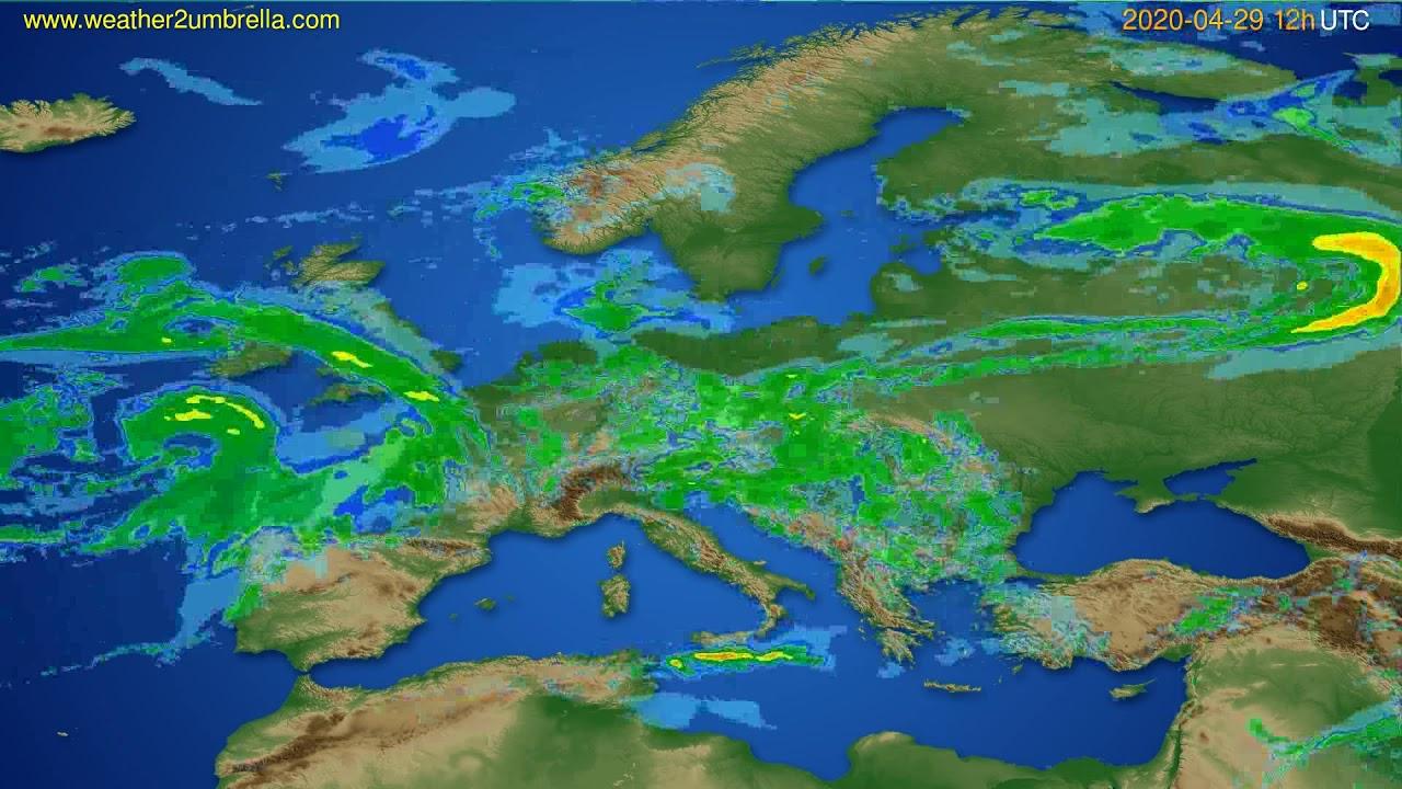 Radar forecast Europe // modelrun: 00h UTC 2020-04-29
