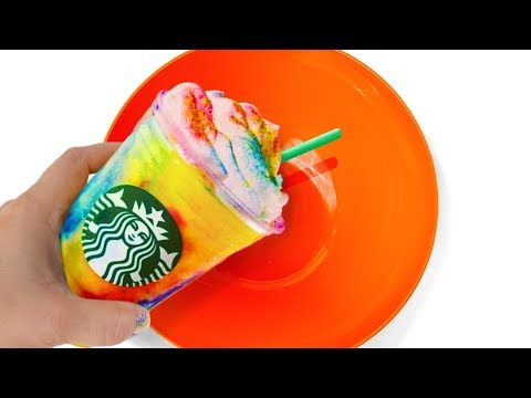 Will It Slime? Turning Starbucks Tie Dye Frappuccino into Slime! Testing No Glue Slime