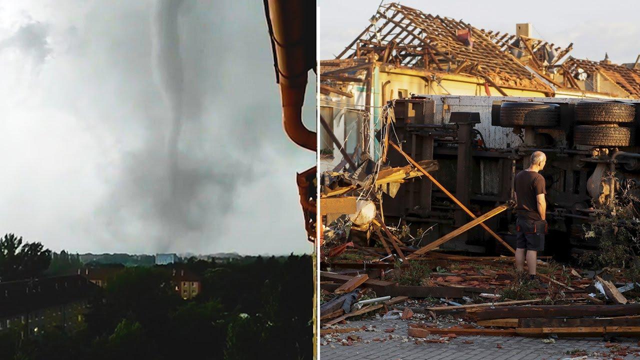 Watch: Rare tornado in Czech Republic kills three and leaves trail of destruction