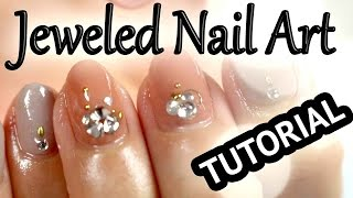 Elegant Jeweled How-to Japanese Nail Art [English Subs] エリガントストーンネイルデザイン
