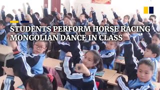 Chinese students perform horse racing Mongolian dance in class