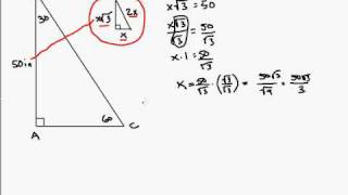 Finding The Missing Side Of 30-60-90 Triangle