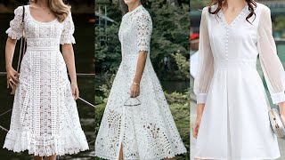 Worlds Most Attractive And Affordable White Lace Dress Lace A Line Frocks White Skater Dress Design
