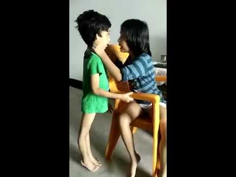 Little girl telling her younger brother not to piss outside
