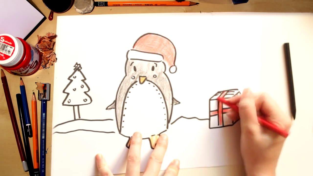 Como desenhar um Pinguim de Natal - desenhos de Natal para crianças