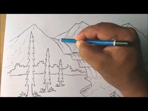 How to draw beautiful waterfall and lake in easy step / Best technique / Beautiful nature drawing /