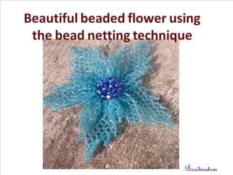 Beautiful beaded flower using the bead netting technique